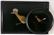 Couroc Of Monterey Roadrunner Tray And Plate Black Mid Century Bar Platters