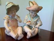Vintage Large Piano Babies Boy And Girl Bisque Porcelain Figurines Numbered 1919