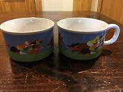 Pair Of Vintage Otagiri Horse Race Soup Mugs Gibson Cards Discontinued Japan