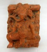 1800and039s Antique Old Rare Hand Carved Wooden Hindu God Ganesha Figure Wall Panel