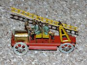 Antique 1910s German Meier Tin Penny Toy Fire Truck Back To Back Men And Ladder
