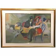 Isaac Maimon Impressionist Mixed Media Painting Of A Boulevard Street Cafe Scene