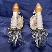 Pair Elegant Antique Plated Nickel On Brass Sconces With Brilliant Prisms 89a