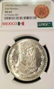 1957 Mexico Silver Un Peso Jose Morelos Ngc Ms 64 First Year Beautiful Luster