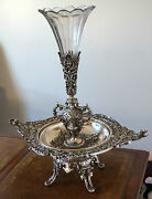 French Antique Silver Gilded Bronze Centre Piece With Vase 19th Century