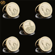 5pcs American World Trade Center Statue Of Liberty Gold Coins Value Collection