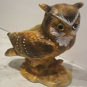 Lefton Great Horned Owl Planter Dish Glass Eyes Hand Painted Japan H4470 Euc