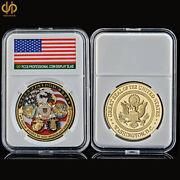 Usa Challenge Freedom Eagle Military Coin Plated Gold Usaf Navy Usmc Army Coast