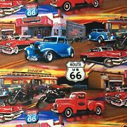 Retro Vintage Cars At The Diner Route 66 Muscle Cars Sewing Quilting Fabric Fq