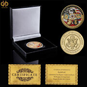 Usa Marine Corps Coin Usmc Force Recon Gold Challenge Coin Usa W/ Luxury Box