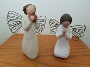 Pair Of Willow Tree Figurines 4 And039angel Of Prayerand039 5 And039angel Of The Heartand039