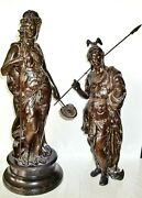 Fabrication Francaise Paris Bronze Goddess Ceres And Roman Soldier God Of War Ares