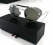Thom Browne Round Sunglasses With Visor Tb-001-a-t-48 Silver Mesh Side Tint
