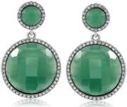 Estate 7.59ct Diamond And Aaa Agate 14kt White Gold 3d Round Hanging Earrings