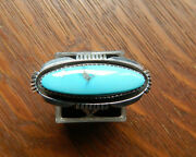 Vintage Lonnie Willie Navajo Sterling Silver Stamped Turquoise Ring Sz 7.25