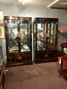 A Pair Of Antique Display Cabinets In A Chinoiserie Design