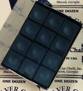 Silver Cup Billiard Chalk Color Navy Blue 12 Pieces In Box Usa Ships Free