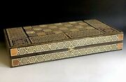 Large Fine Complete Syrian Inlaid Marquetry Mosaic Backgammon Game Wooden Box