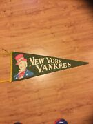 Vtg 1950s Ny New York Yankees Felt Pennant Uncle Sam Full Size Rare Green