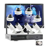 8 Pcs Wireless Cameras 1080p For Home Surveillance Nvr With Hdd And 21.5monitor