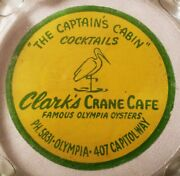 Olympia Oysters Vtg Clarkand039s Crane Cafe Seattle Seafood Restaurant Glass Sign Art