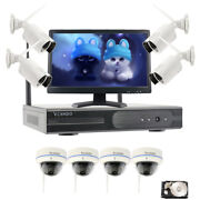 Vcamdo Wireless Outdoor Hd Security Camera System Nvr Ir Hdd H.265+21.5monitor