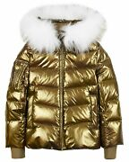 Lisa-rella Girlsand039 Bronze Goose Down Coat With Real Fur Trim Sizes 7-16