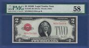 Key Note 1928b 2 Fr-1503 ♚♚red-seal♚♚ Pmg Ch About Unc 58 Rare Note