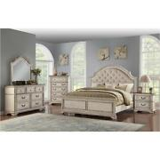 Antique Bisque Finish Bedroom Furniture Queen Size Bed 4piece Set Two Toned