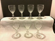 Set Of 7 Etched Palm Tree Footed Claret Wine Cordial Glass Stemware 5