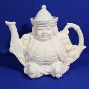 White Ceramic Staffordshire Style Figural Toby Form Teapot. Very Good Condition