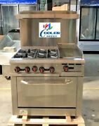 New 36 Oven Range Combo Griddle And Hot Plate Stove Top Commercial Kitchen Nsf