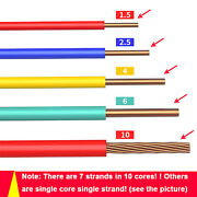 1 10mmandsup2 Electrical Flexible Copper Wire Pcv Extension Wiring Cable Diy Home