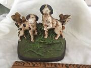 Painted Cast Iron Pointer Setter Dogs Doorstop Hubley Bradley And Hubbard C1910
