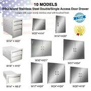Stainless Steel Bbq Double Single Door Drawer Access Outdoor Kitchen 14and039and039-31and039and039