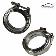 Two 3and039and039 V-band Flange Clamp Kit For Turbo Exhaust Downpipes Stainless Steel