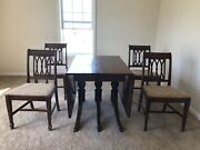 Mahogany Drop Leaf Dining Table With 6 Chairs- 1930and039s Duncan Phyfe Antique