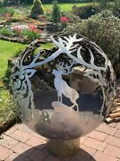 Celtic Stag Themed Fire Pit Patio Heater Solid Steel Sphere Sculpture