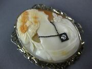 Antique Large .08ct Old Mine Diamond 14k White Gold Lady Cameo Brooch Pin 26750