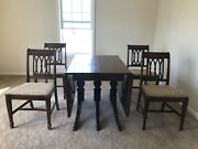 Mahogany Drop Leaf Dining Table With 4 Chairs- 1930and039s Duncan Phyfe Antique.