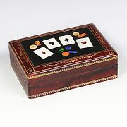 Vintage Mid-century Playing Card Box Wood Pietra Dura Plaque Gambling Card Deck