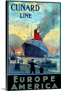 Cunard Line From Europe To America Canvas Wall Art Print Ships And Boats Home