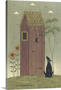 Outhouse With Dog Canvas Wall Art Print, Home Decor