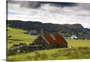 Stone Farmhouse And Surrounding Field, Canvas Wall Art Print, Countryside Home