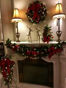 4 Piece Decor Set Garland Wreath And Trees Pre-lit With Timer