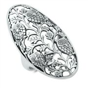 925 Sterling Silver Pretty Owls And Vines Design Ring Sizes 6 To 12