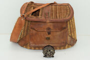 Antique Vintage Wicker And Leather Fly Fishing Trout Creel Basket With Front Pouch
