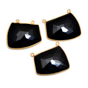 Gold Plated Silver Bazel Black Spinel Connector Faceted Suppliers Finding