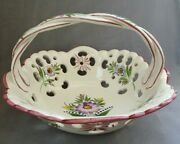 Vintage Rccl Hand Painted Porcelain Floral Basket Bowl With Handle From Portugal