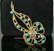 Estate Vintage 18k Yellow Gold Turquoise Round Diamond Twist Rope Pin Brooch